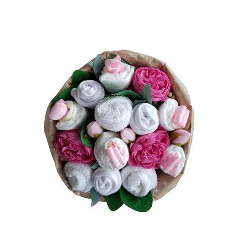 Geboorteboeket wit zalm/roze