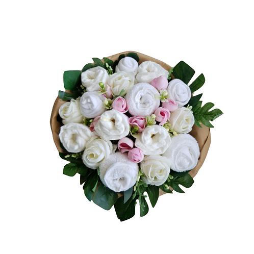 Geboorteboeket wit roze