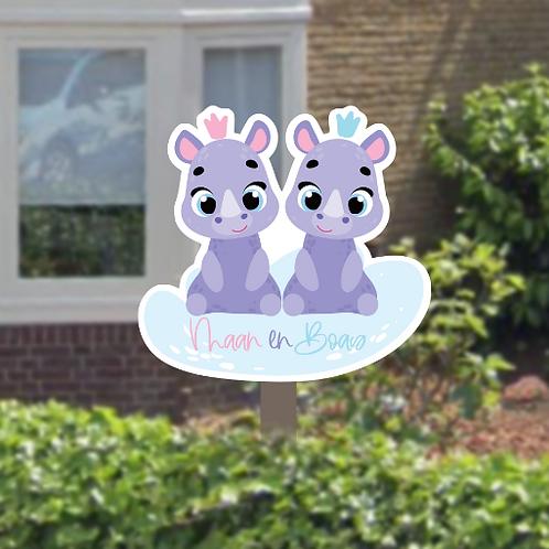 Geboortebord tuin tweeling