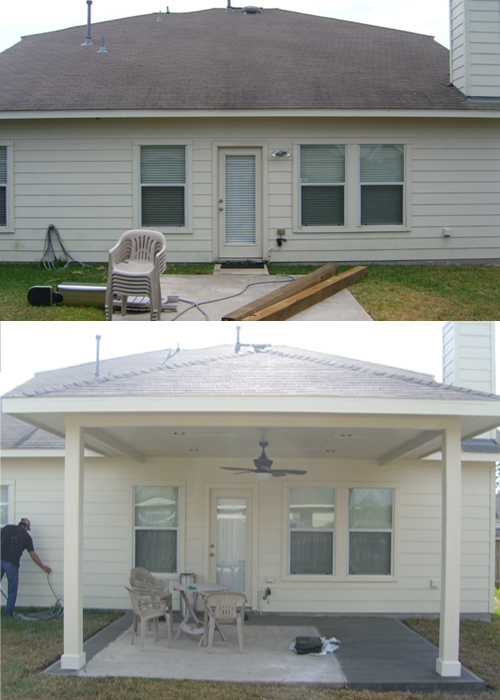 Before and after of patio cover
