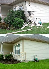 Exterior repair before & after