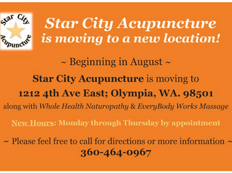Star City Acupuncture has a new location and new hours!