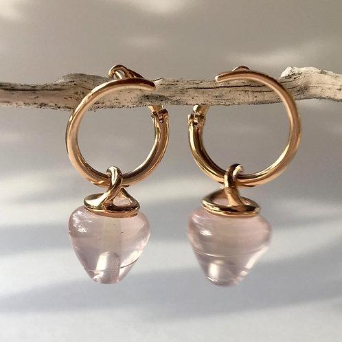 Rose Quartz Spiral Earrings