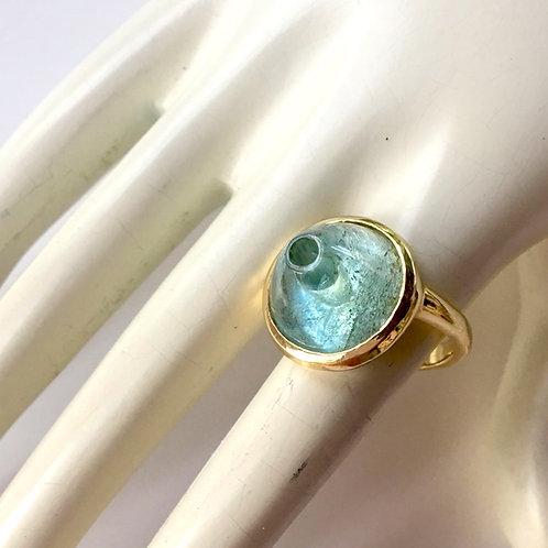 Aquamarine Spiral Ring