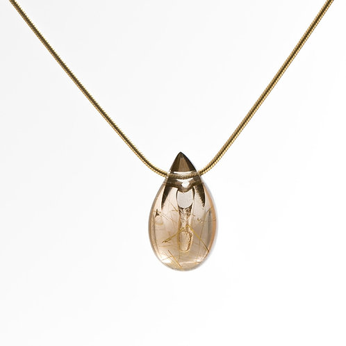 Golden Rutilated Smoky Quartz Drop Pendant