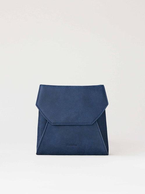 blue leather clutch bag