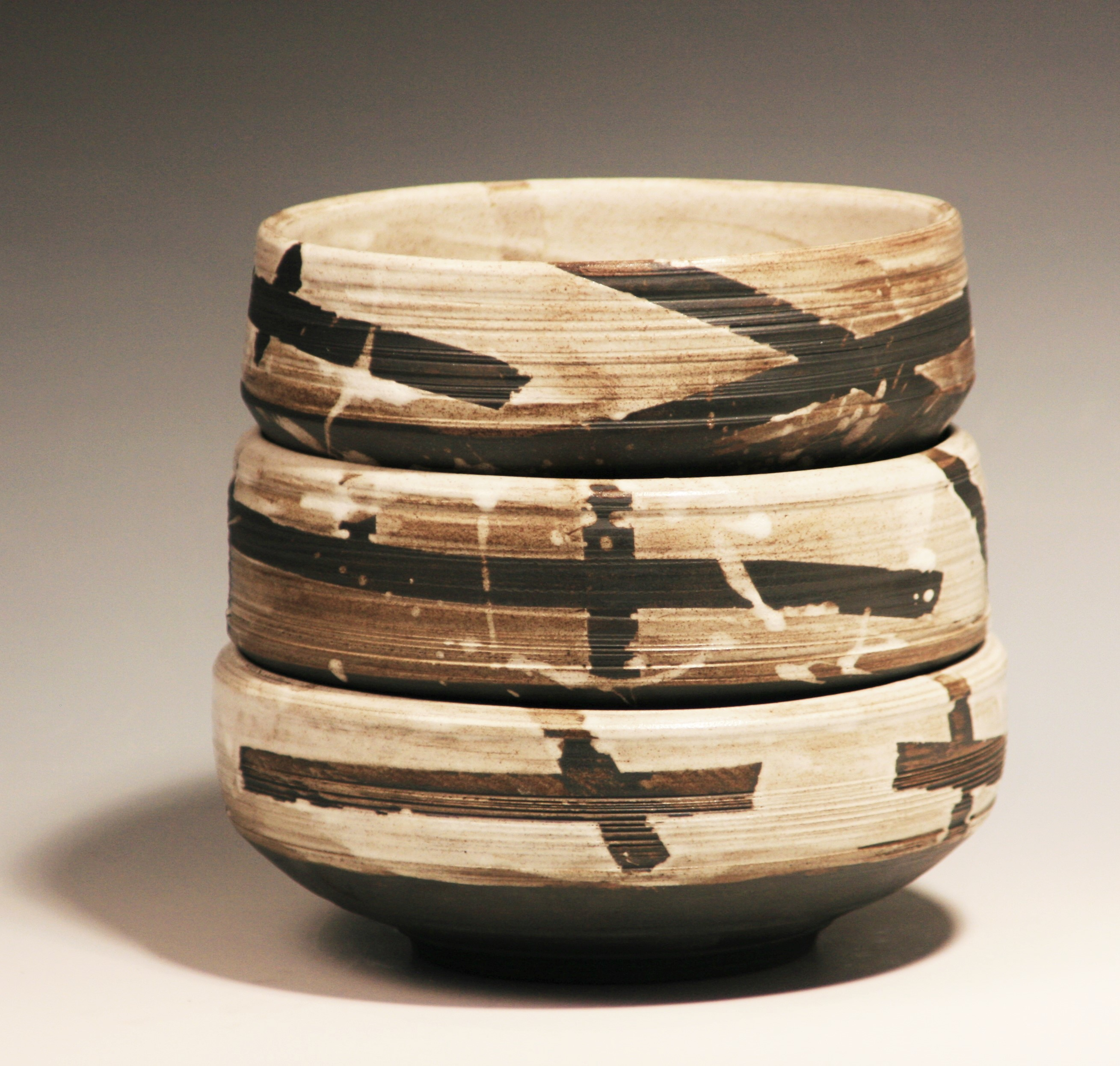 Baked Clay Studio_Cameron Petke _B+W stacking bowls set