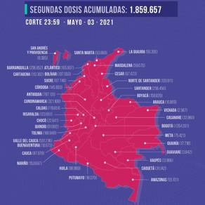 En Colombia se han aplicado 5,38 millones de dosis de vacunas