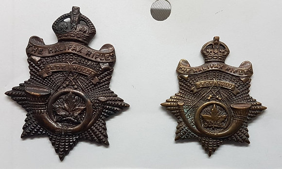 """WW2 Canadian Cap Badge and Collar Dog of the """"Halifax Rifles"""""""