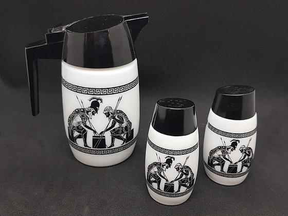 Vintage Greek Milk Glass Set