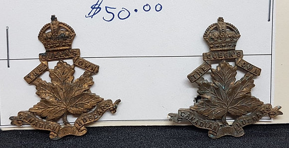 Pre WW1, The Queens Own Candian Hussars Officers collar Badges 1903 Circa