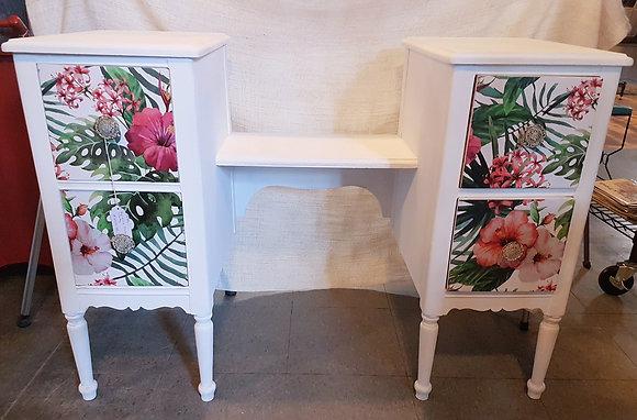 Vintage Vanity/Desk in Hibiscus Design