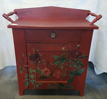 Floral - Red Vintage Washstand