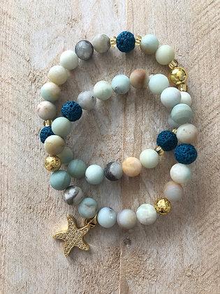 Amazonite Gemstone Bracelet Stack (Set of 2)