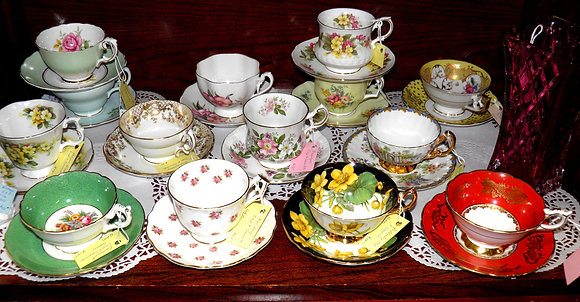Assorted English Cups and Saucers