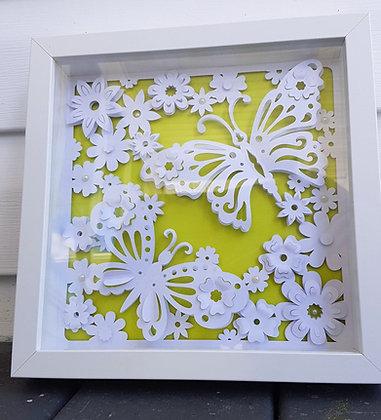 Bright Green Back 3D White Butterfly Frame