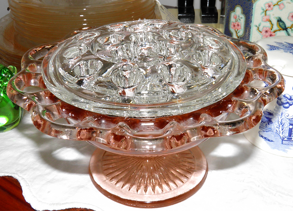 Pink Depression Glass Flower Posey with Frog