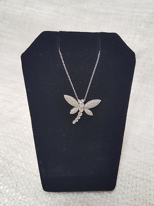 Dragonfly White Gold Chain with Diamonds Pendant