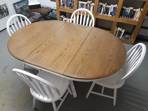 Table with Leaf and Four Chairs.