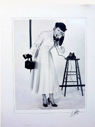 1950s Vintage Photo, Girl on telephone