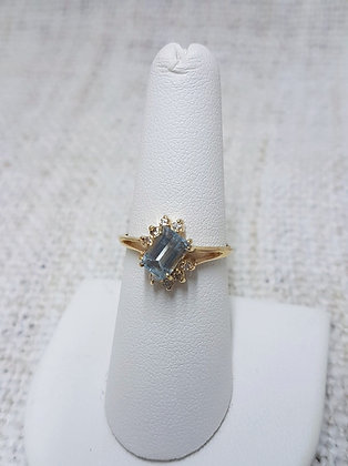 Aqua Marine and Diamond Ring
