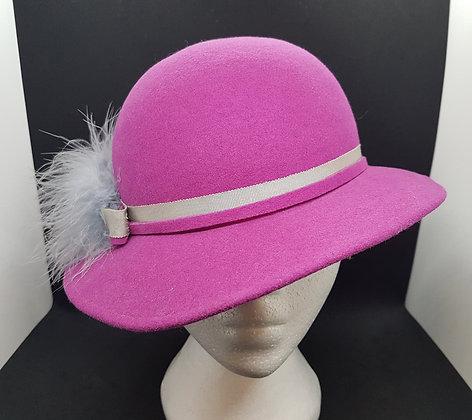 Vintage Fuchsia Hat With Grey Hat