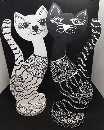 Black and White Wood Cats
