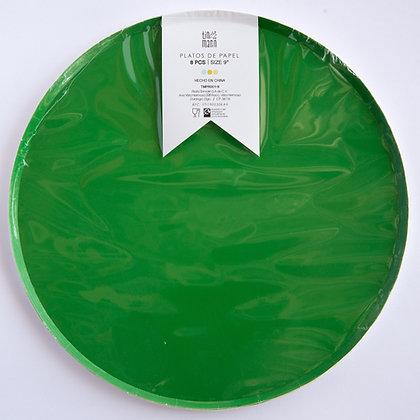Plato Grande Verde Bandera Tin Marin
