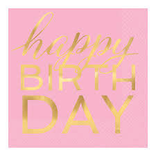 Servilleta Happy Birthday Rosa