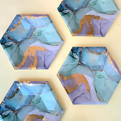 Plato Hexagonal Verde Marmol