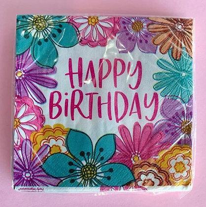 Servilleta Happy Birthday con Flores
