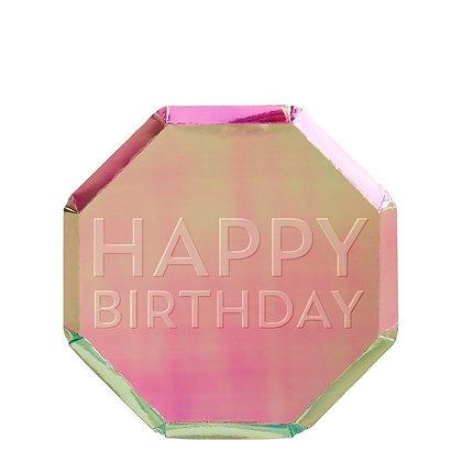 Oil Slick Happy Birthday Plates
