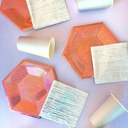 Plato Hexagonal Tornasol Rosa