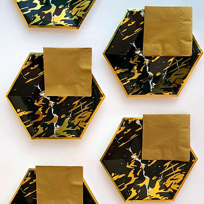 Plato Hexagonal Negro Foil