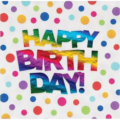 Servilleta Happy Birthday foil