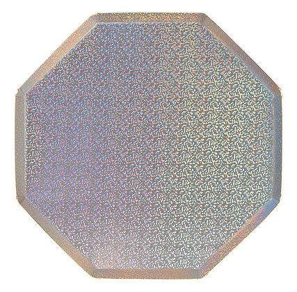 Plato octagonal Dinner Sparkly Silver Holographic