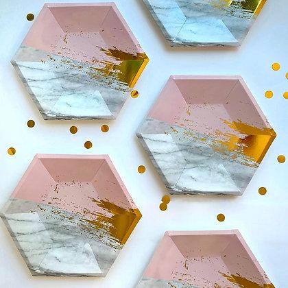 Plato Hexagonal Rosa Gris Foil
