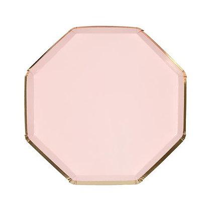 Plato Grande Octagonal Rosa Pastel