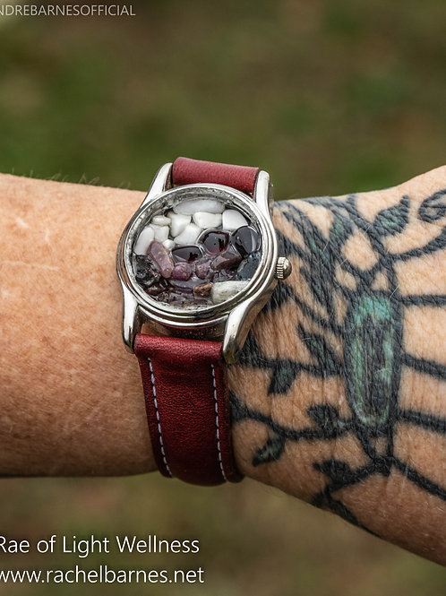 MULTI CRYSTAL WATCH INFUSED WITH HEALING ENERGY - BURGUNDY BAND