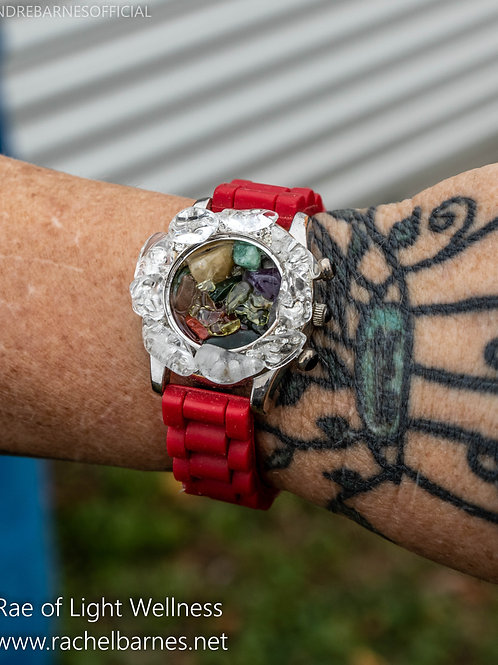 Red Multi Crystal Watch infused with Healing Energy