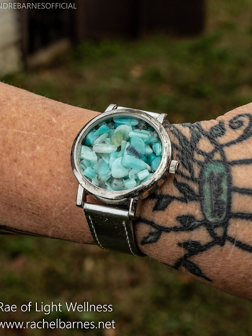 CLEAR QUARTZ  & AMAZONITE WATCH INFUSED WITH HEALING ENERGY ON SILVER BAND