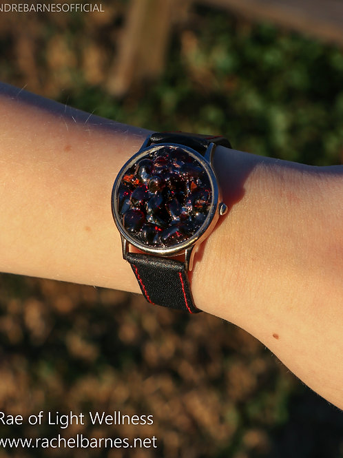 RED GARNET CRYSTAL WATCH INFUSED WITH HEALING ENERGY