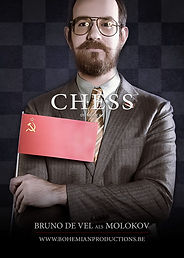 Chess musical; Bruno De Vel als Molokov; Bohemian Productions Sint-Niklaas