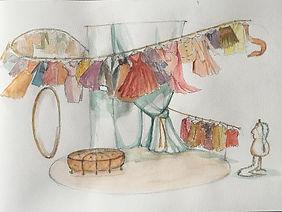 eerste schets decor door Niels de Valk