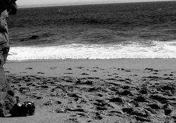 shoes on ocean's doorstep