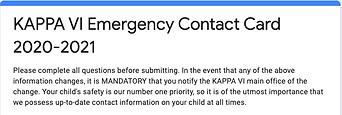 Emergency Contact Card KAPPA 2020-2021