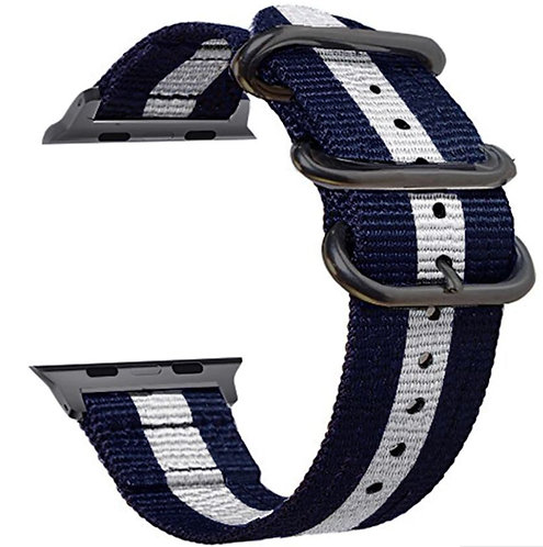Bracelete Tecido de Nylon Azul Branco