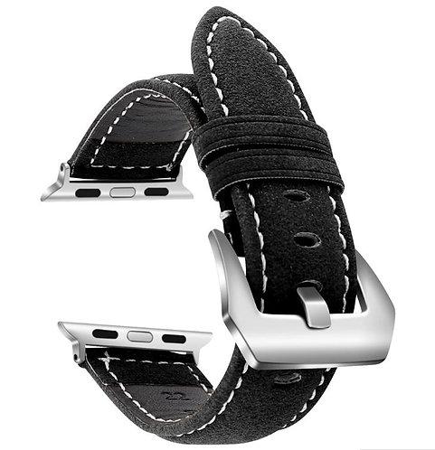 Bracelete Cabedal Preta Vintage