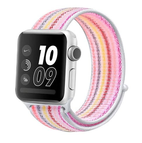 Bracelete Nylon Loop Pink Stripe