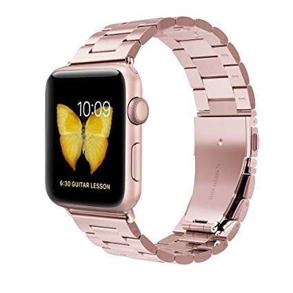 Bracelete Metálica Aço Inoxidável Rosa Ouro